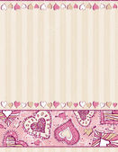 Beige background with hand draw hearts — Stock Vector