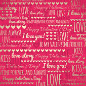 Red background with golden valentine hearts and wishes text — Stock Vector