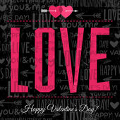 Valentines day greeting card with red wishes text, vector — 图库矢量图片
