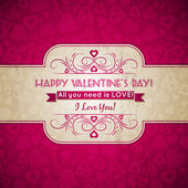 Valentines day greeting card with hearts and wishes text — 图库矢量图片