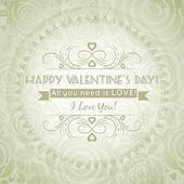 De dag van valentijnskaarten wenskaart met hart en wensen tekst — Stockvector