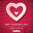 Red background with pink valentine heart and wishes text — Stock Vector