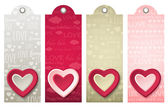 Valentines labels with decorative hearts, vector — Stock Vector