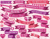 Set of many ribbon valentine's design, vector — Stock Vector