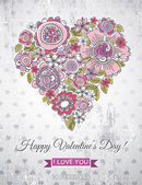 Grey background with valentine heart of spring flowers, vector — Vecteur