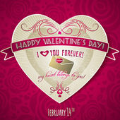 Red valentines day greeting card with red heart and flower — Stock Vector