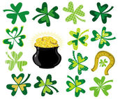 Green shamrocks and pot with golden coins — Stock Vector