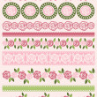 Set of Lace Paper with roses, vector — Stock vektor