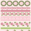 Set of Lace Paper with roses, vector — Stockvector