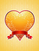 Golden heart, vector — Stock Vector