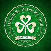 Card for St. Patrick's Day with text and shamrock, vector — Stock Vector