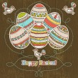Easter eggs on grunge wooden background — Stock Vector