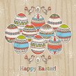 Background with easter eggs on grunge background — Stock Vector