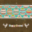 Easter eggs on grunge wooden background, vector — Stock Vector