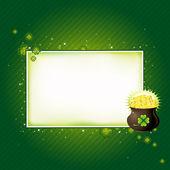 Green card with shamrock, vector illustration — Stock Vector