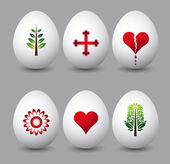 Six easter eggs with different symbols over grey background — Stockvector