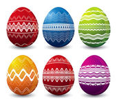 Six color easter eggs over white background — Stock Vector