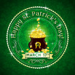 Stock Vector: Card for St. Patrick's Day with text and pot with golden coins,