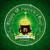 Card for St. Patrick's Day with text and pot with golden coins, — Stock Vector