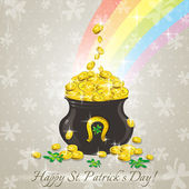 Card for St. Patrick's Day with text and pot with golden coins — Stock Vector