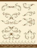 Decorative frame and ornaments for design, vector — Vecteur