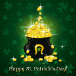 Stock Vector: Card for St. Patrick's Day with text and pot with golden coins