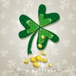 Stock Vector: Card for St. Patrick's Day with clover and golden coins