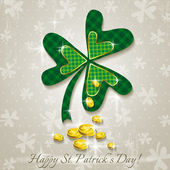 Card for St. Patrick's Day with clover and golden coins — Stock Vector