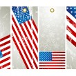 Four labels with elements of usa banner — Stock Vector