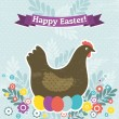 Background with easter eggs and one hen, vector — Stock Vector #42879499