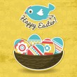 Background with easter eggs and one bird, vector — Stock vektor