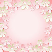 Pink  background with many flowers,  vector — Wektor stockowy