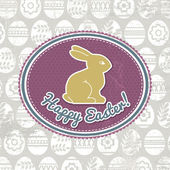 Background with easter eggs, label and rabbit, vector — Cтоковый вектор