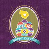 Sfondo con le uova di Pasqua e pulcino, vettoriale — Vettoriale Stock