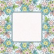Frame of hand draw flowers on blue background — Vector de stock
