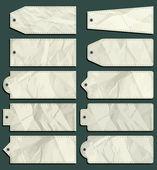 Ten crumple  labels, vector  — Stock Vector