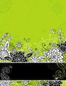 Mano dibujar flores sobre fondo verde — Vector de stock