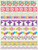 Set of Lace Paper with flower an easter eggs, vector — Stock Vector