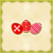 Three easter eggs over yellow background — Wektor stockowy