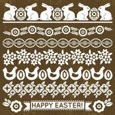 レースの紙の花とイースターの卵、ベクトルのセット — ストックベクタ