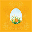 One easter egg on yellow background with decorative elements — Stock Vector #43972261
