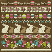 Set of Lace Paper with flower and easter eggs, vector — Stock Vector