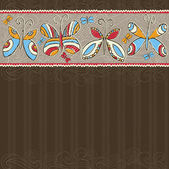 Hand draw  butterflies on  brown striped background — Vetorial Stock
