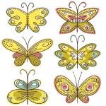 Six hand draw butterflies, vector illustration — Stock Vector #44868051