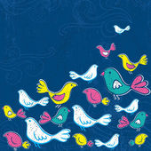 Hand draw birds on grunge blue background, vector — Stock Vector