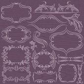 Floral decorative borders, ornamental rules, dividers, vector — Stock Vector
