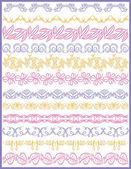 Set di carta pizzo con fiore, vettoriale — Vettoriale Stock