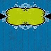 green label on blue grunge background,  vector illustration — Stockvektor
