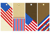 Four  wooden labels with elements of usa banner — Stock Vector