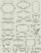 Bordes decorativos florales, ornamentales reglas, separadores, vector — Vector de stock